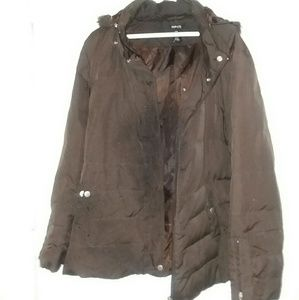 STYLE & COMPANY DEEP BROWN HOODED COAT